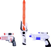Planet Of Toys SPACE WARS SERIES: PLANET OF TOYS SPACE WEAPON SET COMBO 1 GUN (24CMS), 1GUN (17 CMS), 1 SWORD (51 CMS) ORANGE (DETAILED HANDLE) (Multicolor)