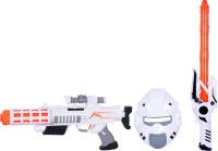 Planet Of Toys WEAPON SET GUN 44CMS SWORD 52CMS MASK 23CMS ( LED LIGHTS AND SOUND) (Multicolor)