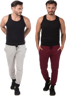 Meebaw Self Design Men's Grey, Maroon Track Pants