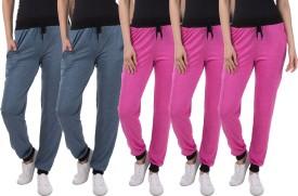 Gaushi Solid Women's Dark Blue, Dark Blue, Pink, Pink, Pink Track Pants