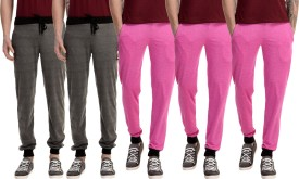 Gaushi Solid Men's Grey, Grey, Pink, Pink, Pink Track Pants
