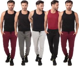 Meebaw Self Design Men's Grey, Grey, Black, Maroon, Maroon Track Pants