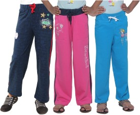 Menthol Printed, Embroidered, Solid Girl's Blue, Pink, Blue Track Pants