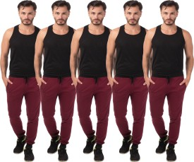 Meebaw Self Design Men's Maroon, Maroon, Maroon, Maroon, Maroon Track Pants