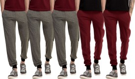 Gaushi Solid Men's Grey, Grey, Grey, Maroon, Maroon Track Pants