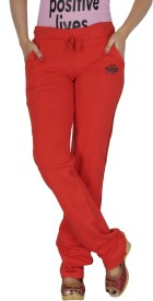 Smart Lady Solid Women's Red Track Pants