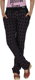 Smart Lady Printed Women's Black Track Pants
