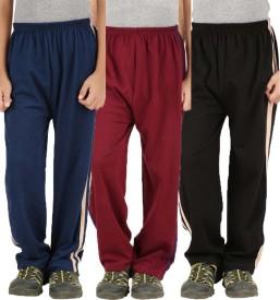 Meril Printed Girl's Black, Dark Blue, Red Track Pants