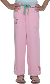Menthol Solid, Embroidered Girl's Pink Track Pants