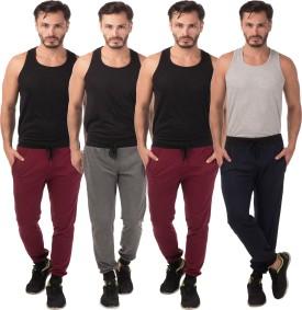Meebaw Self Design Men's Grey, Maroon, Maroon, Dark Blue Track Pants