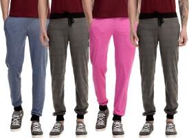 Gaushi Solid Men's Dark Blue, Grey, Grey, Pink Track Pants