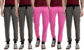 Gaushi Solid Men's Grey, Grey, Grey, Pink, Pink Track Pants