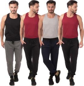 Meebaw Self Design Men's Grey, Black, Black, Dark Blue Track Pants