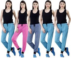 Dee Mannequin Self Design Women's Dark Blue, Pink, Blue, Blue, Blue Track Pants