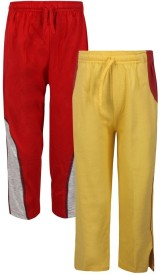 Jazzup Solid Boy's Yellow, Red Track Pants