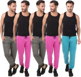 Meebaw Self Design Men's Grey, Grey, Pink, Pink, Blue Track Pants
