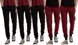 Gaushi Solid Men's Black, Black, Black, Maroon, Maroon Track Pants