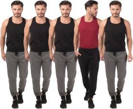 Meebaw Self Design Men's Grey, Grey, Grey, Grey, Black Track Pants