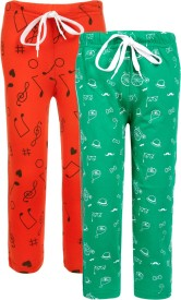 Sweet Angel Solid Girl's Red, Green Track Pants