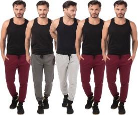 Meebaw Self Design Men's Grey, Grey, Maroon, Maroon, Maroon Track Pants