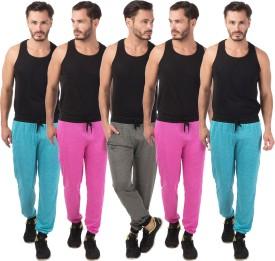 Meebaw Self Design Men's Grey, Pink, Pink, Blue, Blue Track Pants