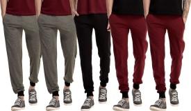 Gaushi Solid Men's Grey, Grey, Black, Maroon, Maroon Track Pants