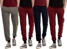 Gaushi Solid Men's Grey, Maroon, Maroon, Dark Blue Track Pants