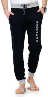 Huggers Huggers Summer Trackpant Bottom Ribbed Logo Print Solid Men's Track Pants
