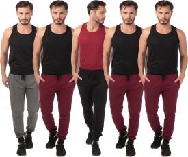 Meebaw Self Design Men's Grey, Black, Maroon, Maroon, Maroon Track Pants
