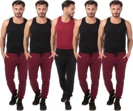 Meebaw Self Design Men's Black, Maroon, Maroon, Maroon, Maroon Track Pants