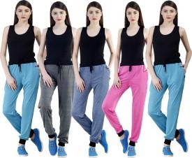 Dee Mannequin Self Design Women's Dark Blue, Grey, Pink, Blue, Blue Track Pants
