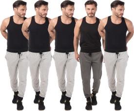 Meebaw Self Design Men's Grey, Grey, Grey, Grey, Grey Track Pants