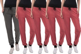 Gaushi Solid Women's Red, Red, Red, Red, Grey Track Pants