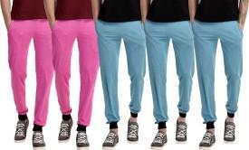 Gaushi Solid Men's Pink, Pink, Blue, Blue, Blue Track Pants