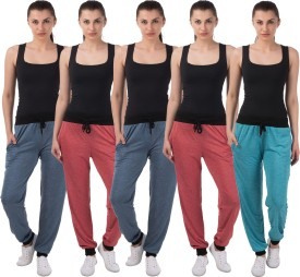 Meebaw Self Design Women's Red, Red, Dark Blue, Dark Blue, Blue Track Pants