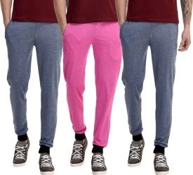 Gaushi Solid Men's Dark Blue, Dark Blue, Pink Track Pants