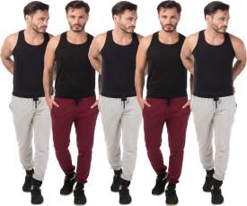 Meebaw Self Design Men's Grey, Grey, Grey, Maroon, Maroon Track Pants