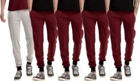 Gaushi Solid Men's Grey, Maroon, Maroon, Maroon, Maroon Track Pants