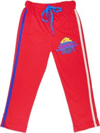 Sweet Angel Self Design Boy's Red Track Pants