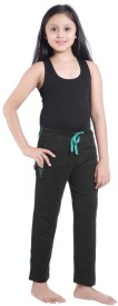 Red Ring Solid Girl's Black Track Pants