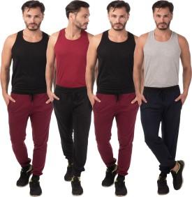 Meebaw Self Design Men's Black, Maroon, Maroon, Dark Blue Track Pants