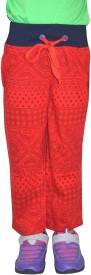 Shaun Printed Girl's Red Track Pants