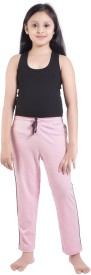 Red Ring Solid Girl's Pink Track Pants
