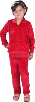 Vivid Bharti Style Collar Cotton Velvet/Shearing Solid Girl's Track Suit