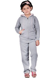 Vivid Bharti Grey Pink Bone Solid Girl's Track Suit