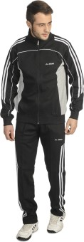 Athlet Solid Black And Grey Color Solid Men's Track Suit