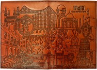 Indiavibes Passport Holder/Cover Of Synthetic Leather With India Mystic Land Theme (Brick/OrangeRed) Orange