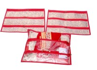 Kuber Industries Multi Purpose Kit, Saree Cover, Utility Bag, Blouse Cover (Set Of 3 Pcs) Red