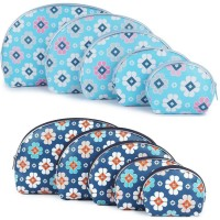 Uberlyfe Dark Blue And Light Blue Multipurpose Pouch Or Purse With Floral Print - Combo Of 10 Multicolor