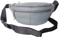 Kan Grey Genuine Leather Travel Waist Bag For Men And Women Grey